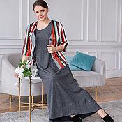handmade. Livemaster - original item Stylish cotton jacket with bright stripes, gray dress. Handmade.