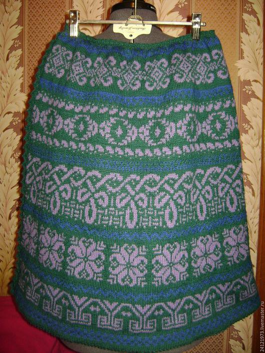 Юбки ручной работы. Ярмарка Мастеров - ручная работа. Купить вязаная  юбка. Handmade. Тёмно-зелёный, орнамент, полушерсть Россия