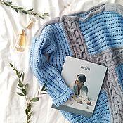"""Одежда ручной работы. Ярмарка Мастеров - ручная работа свитер в стиле """"пэчворк"""" серо - голубой. Handmade."""