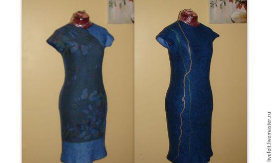 """Платья ручной работы. Ярмарка Мастеров - ручная работа. Купить Валяное платье """" Бабочки """" синее длинное меринос. Handmade."""
