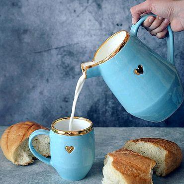 Посуда ручной работы. Ярмарка Мастеров - ручная работа Набор Золото на голубом Кувшин и три чашки. Handmade.