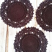 Для дома и интерьера ручной работы. Ярмарка Мастеров - ручная работа салфетка крючком под чашки. Handmade.