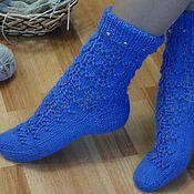 """Аксессуары ручной работы. Ярмарка Мастеров - ручная работа Носки вязаные, шерстяные носки, домашняя обувь """"Теплая изморозь"""". Handmade."""