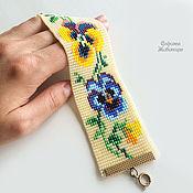 Украшения ручной работы. Ярмарка Мастеров - ручная работа Браслет из бисера с цветами. Handmade.