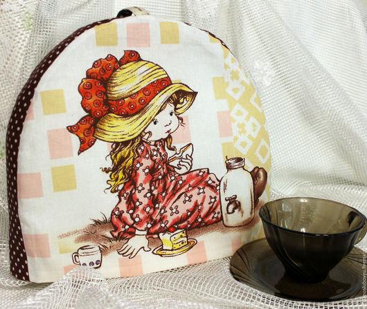 """Кухня ручной работы. Ярмарка Мастеров - ручная работа. Купить Грелка на чайник  """"Мечтательное чаепитие"""" текстильная. Handmade. Коричневый"""