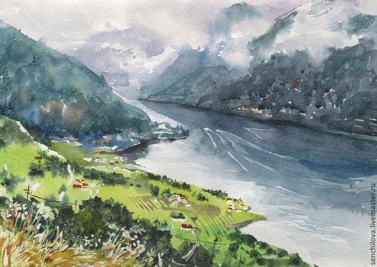 """Пейзаж ручной работы. Ярмарка Мастеров - ручная работа. Купить Акварель """"Норвегия"""". Handmade. Салатовый, акварель, река, пейзаж акварелью"""