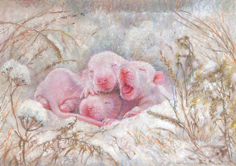 """Авторская картина """"Новый год"""",год крысы,мышата, Год Крысы, Санкт-Петербург,  Фото №1"""