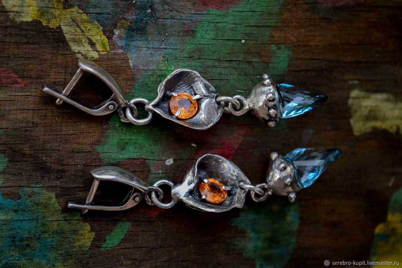 Earrings silver natural stones: Topaz, garnet, silver earrings, Earrings, St. Petersburg,  Фото №1
