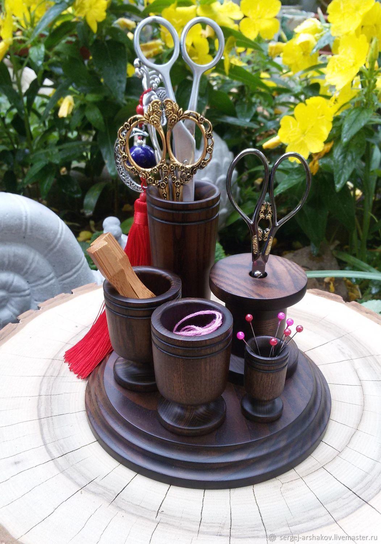 Органайзеры для рукоделия ручной работы. Ярмарка Мастеров - ручная работа. Купить Оранайзер настольный для мелочей, коричневого цвета. Handmade. Подставка