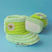 Работы для детей, handmade. Livemaster - original item Booties boots plush, knitted shoes, infant shoes, children. Handmade.