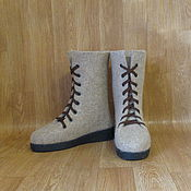 Обувь ручной работы. Ярмарка Мастеров - ручная работа Войлочные ботинки Бежевый меланж. Handmade.