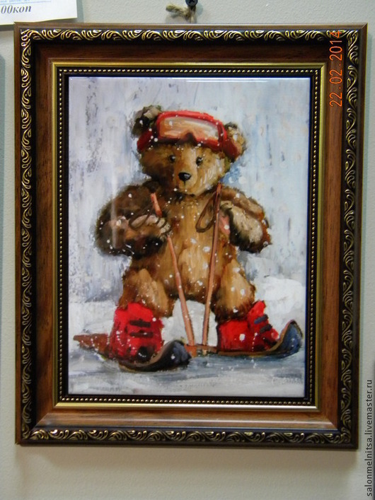 Репродукции ручной работы. Ярмарка Мастеров - ручная работа. Купить Тедди горнолыжник. Handmade. Тедди мишка, панно на стену