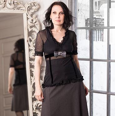 Одежда ручной работы. Ярмарка Мастеров - ручная работа Блузка прозрачная с шелковым бархатом  и гипюром. Handmade.
