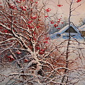 Картины и панно ручной работы. Ярмарка Мастеров - ручная работа Картина маслом, зимний пейзаж, Калина красная. Handmade.