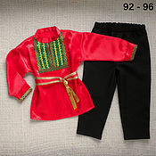 Работы для детей, handmade. Livemaster - original item Russian folk costume for boy men`s shirt belt. Handmade.