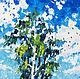 Картина маслом береза пейзаж Лето на пороге Картина летний пейзаж  Пейзаж маслом на холсте Картина мастихином Лето пейзаж картина