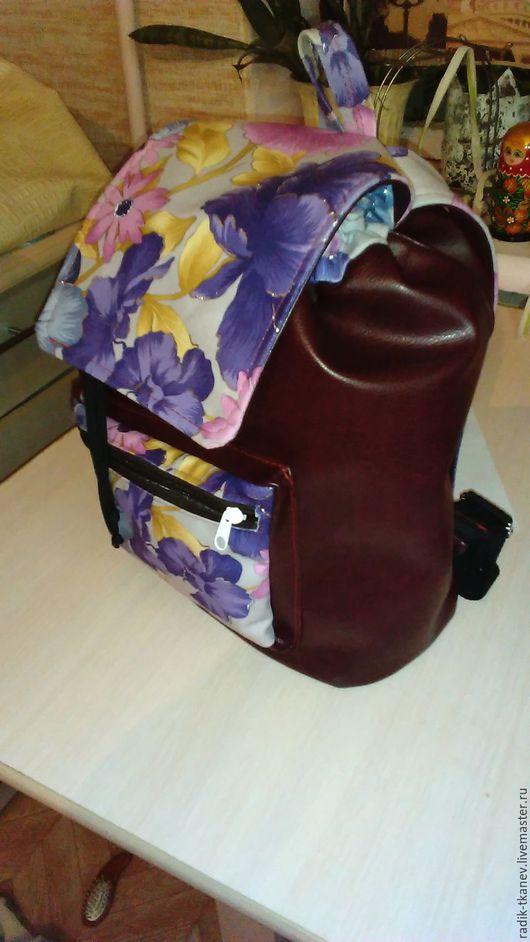 Рюкзаки ручной работы. Ярмарка Мастеров - ручная работа. Купить Кожаный Рюкзак. Handmade. Бордовый, рюкзак, школьный рюкзак