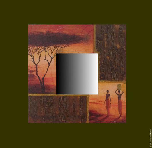 """Зеркала ручной работы. Ярмарка Мастеров - ручная работа. Купить Зеркало """"Африка"""". Handmade. Дерево, де купаж, комбинированный, дерево"""