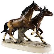 """Винтаж ручной работы. Ярмарка Мастеров - ручная работа РЕДКОСТЬ! Фарфоровая статуэтка """"Бегущие лошади"""", Hertwig & Co, винтаж. Handmade."""