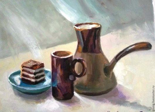 Натюрморт ручной работы. Ярмарка Мастеров - ручная работа. Купить Запах кофе. Handmade. Голубой, для интерьера, для подарков, пирожное