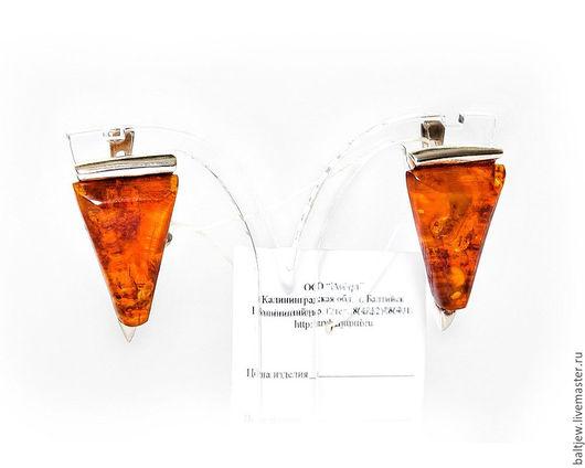 Серебряные серьги с янтарем `Прованс`. Серебро 925 пробы.  Балтийский янтарь коньячного цвета, пейзажный.