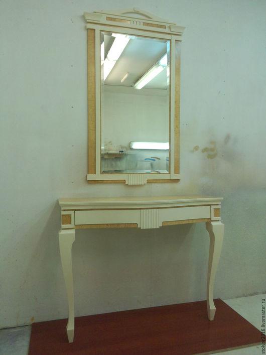 Мебель ручной работы. Ярмарка Мастеров - ручная работа. Купить Консоль с зеркалом. Handmade. Кремовый, натуральный шпон, консоль с зеркалом
