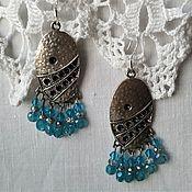 Украшения handmade. Livemaster - original item Long earrings with silver studs, Swarovski, Blue. Handmade.
