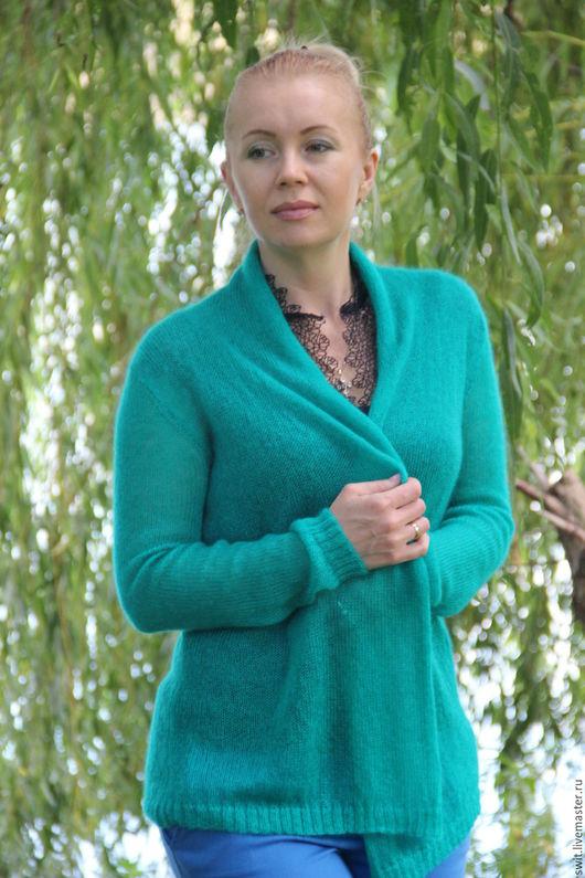 """Кофты и свитера ручной работы. Ярмарка Мастеров - ручная работа. Купить Кардиган """"Изумруд"""". Handmade. Зеленый, стильная одежда"""