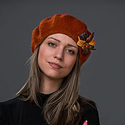 Аксессуары handmade. Livemaster - original item Beret with flower brooch