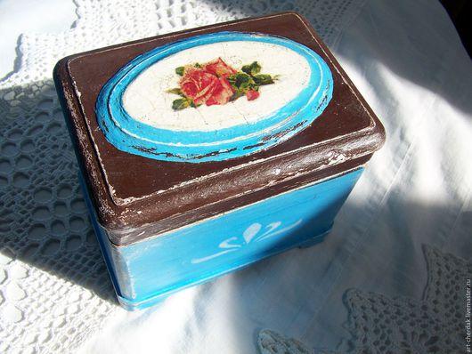 """Шкатулки ручной работы. Ярмарка Мастеров - ручная работа. Купить Шкатулка """"Полный прованс"""". Handmade. Голубой, роза, небольшая шкатулка"""