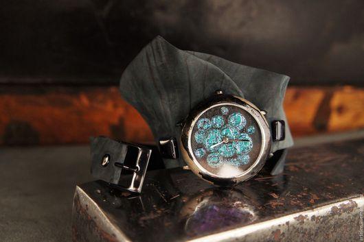 Часы винтажные, особенные часы, натуральная кожа, авантюрин, синий, зеленый цвет,  сирена, русалка