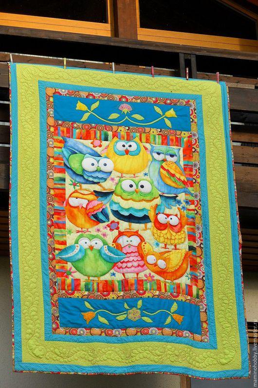 Пледы и одеяла ручной работы. Ярмарка Мастеров - ручная работа. Купить Одеяло плед лоскутный Радужные совы. Handmade.