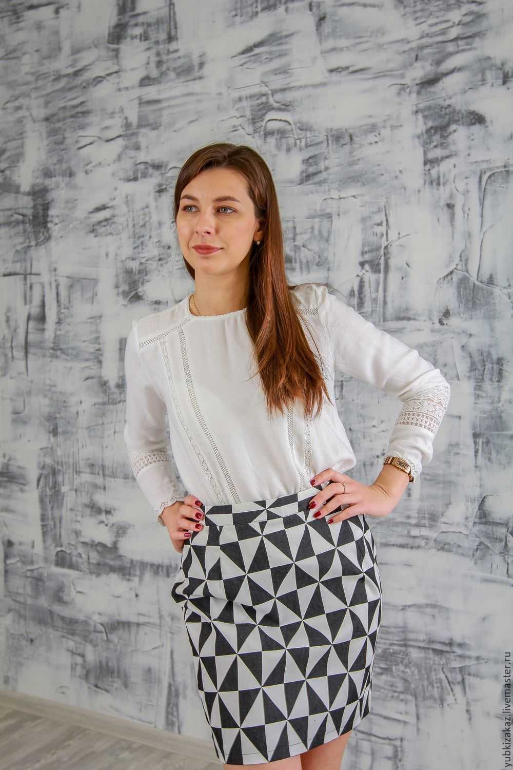 The skirt is denim Black and white triangles, Skirts, Novosibirsk,  Фото №1