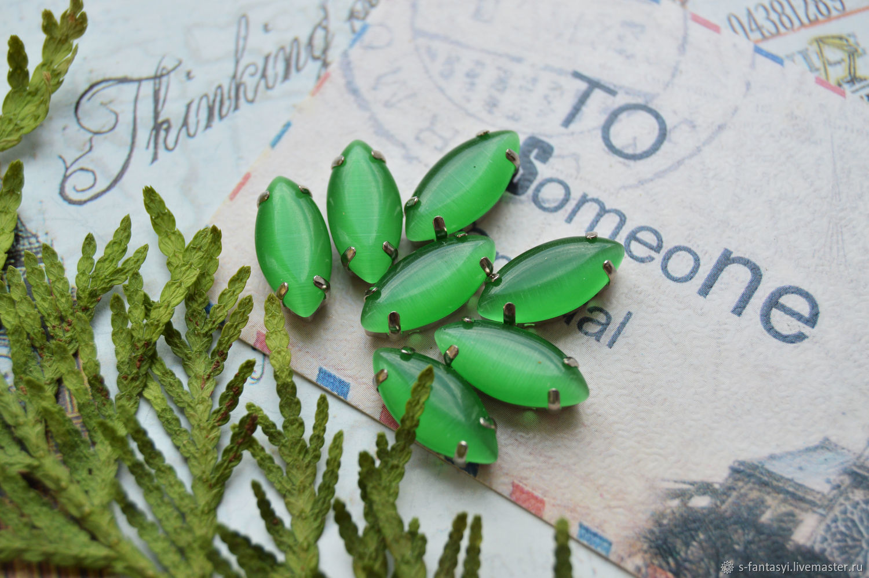 Silk rhinestones Greens 7h15 mm navette, Cabochons, Stavropol,  Фото №1