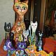Игрушки животные, ручной работы. Ярмарка Мастеров - ручная работа. Купить Кошка с котятами. Handmade. Разноцветный, натуральное дерево