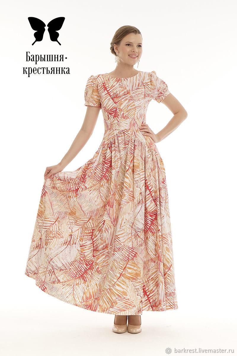 Платья ручной работы. Ярмарка Мастеров - ручная работа. Купить Девочка с персиками. Handmade. Платье из хлопка, платье в пол из хлопка