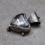 Украшения handmade. Livemaster - original item Heart pendant with Topaz, silver, gold and brass. Handmade.