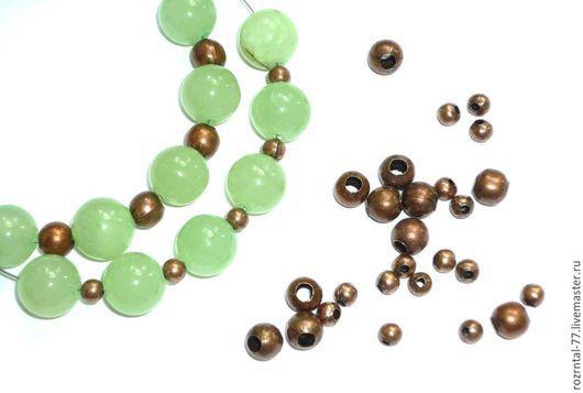 Бусины разделители круглые полые со швом 4 мм и 6 мм (диаметр отверстия 2 мм.) цвет античная медь.