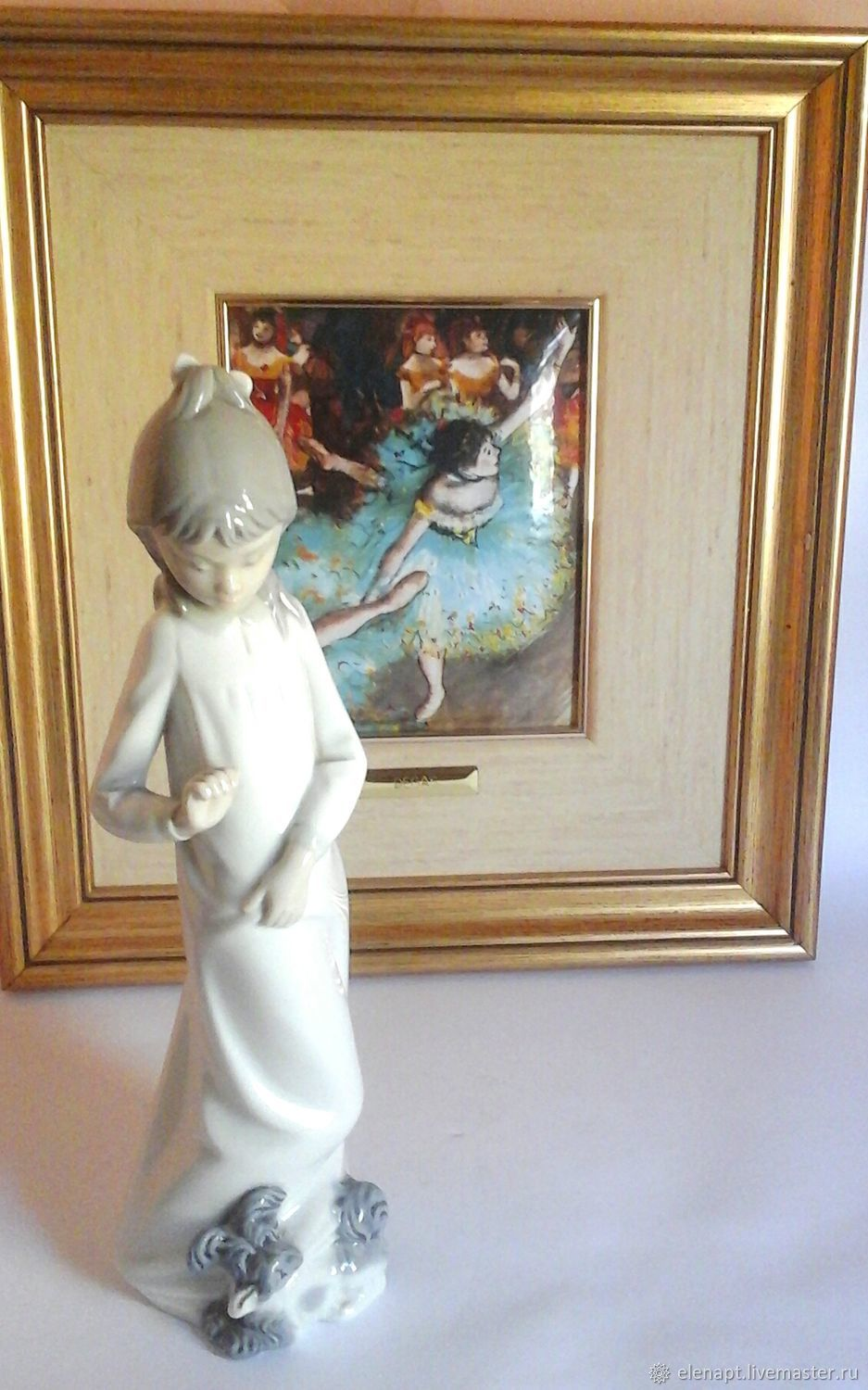Little beauty with a puppy NAO Lladro, Vintage interior, ,  Фото №1