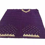 №387 Ткань на платье с золотой вышивкой