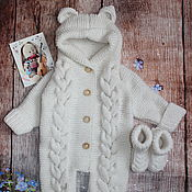 Работы для детей, handmade. Livemaster - original item Knitted overalls for newborns