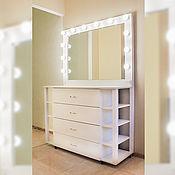 Столы ручной работы. Ярмарка Мастеров - ручная работа Туалетный столик + зеркало с лампами. Handmade.