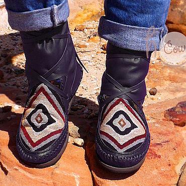 """Обувь ручной работы. Ярмарка Мастеров - ручная работа Короткие кожаные мокасины """"Native Purple"""". Handmade."""