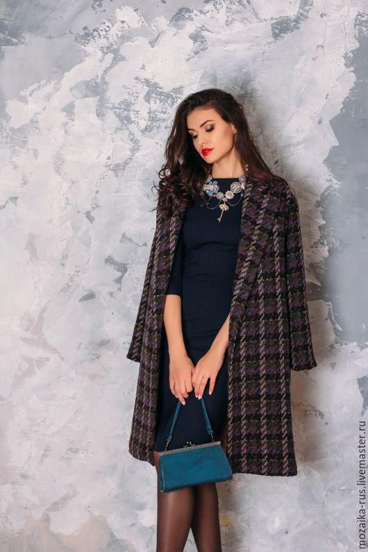 Верхняя одежда ручной работы. Ярмарка Мастеров - ручная работа. Купить Пальто из итальянской шерсти. Handmade. Тёмно-фиолетовый, полоска