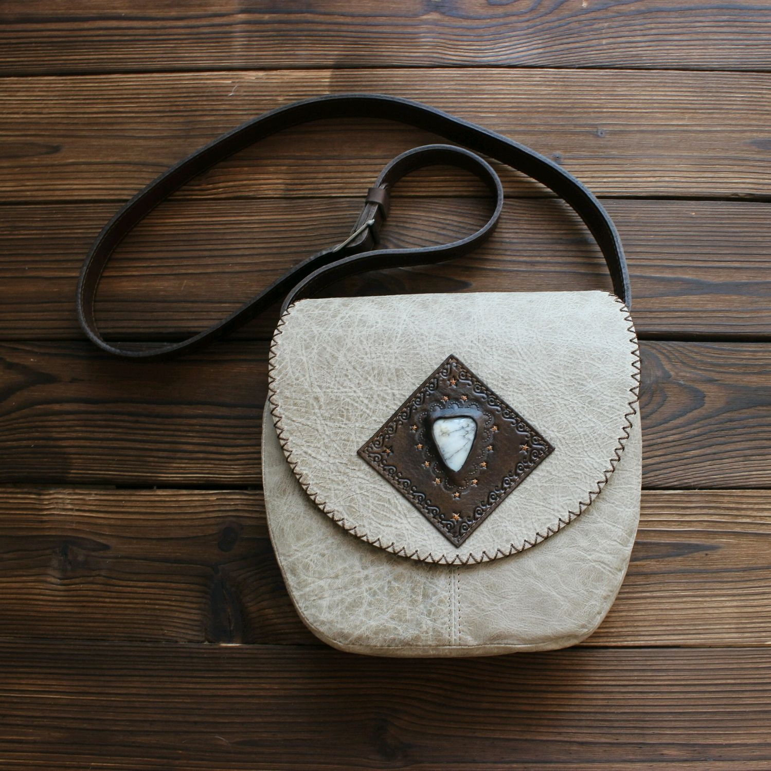 Bag made of genuine leather in boho style'Byron Bay', Messenger Bag, St. Petersburg,  Фото №1