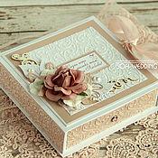 Открытки ручной работы. Ярмарка Мастеров - ручная работа Свадебная коробочка для денег Пудра. Handmade.