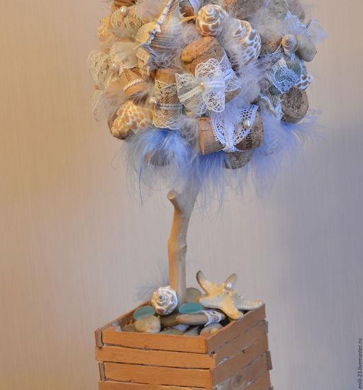 """Топиарии ручной работы. Ярмарка Мастеров - ручная работа. Купить Топиарий """"Морской прибой"""". Handmade. Голубой, ракушка натуральная"""