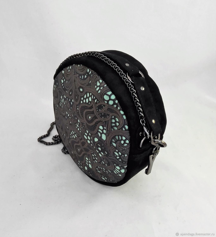 c465c8262b75 Handbags handmade. Livemaster - handmade. Buy Round black suede bag  Paola