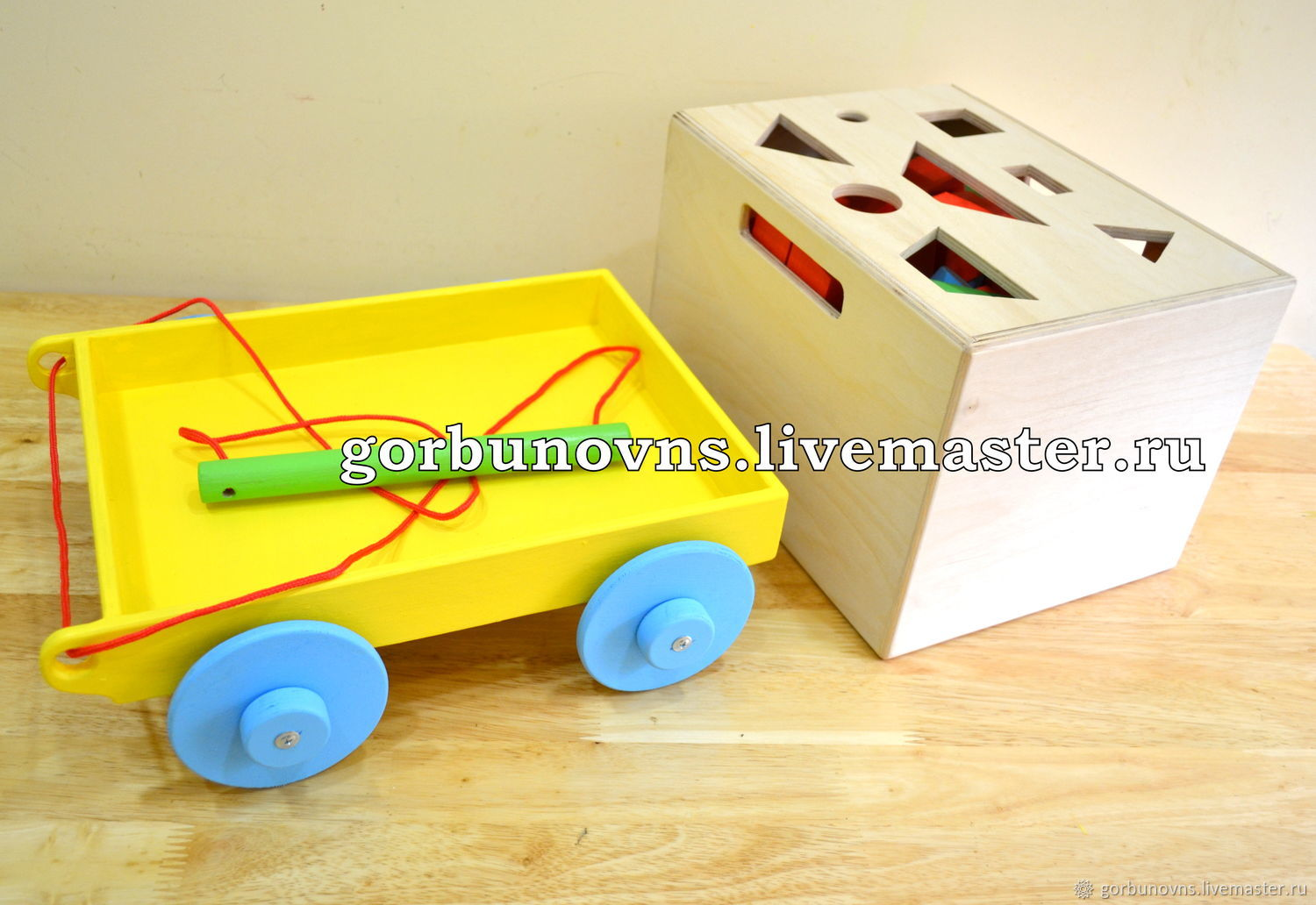 Wooden CONSTRUCTION KIT 4in1 (104 parts) with Cart, Box, Sorter, Play sets, Simferopol,  Фото №1