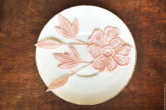 Аппликации, вставки, отделка ручной работы. Ярмарка Мастеров - ручная работа. Купить Кружевная аппликация, вставка кружевная, цветок, розовый. Handmade.